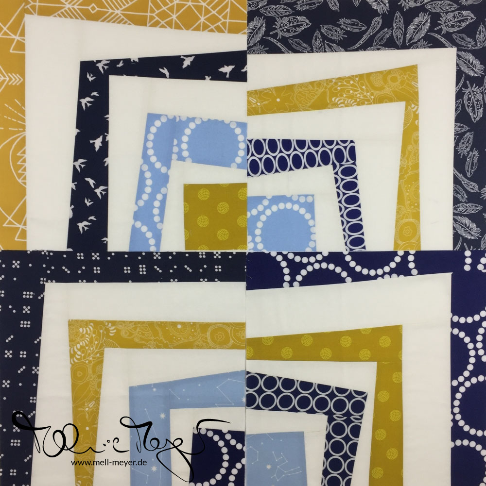 "Quilty Circle of Bees - January/ February 2017 ""Improv Quarter Log Cabin"" 