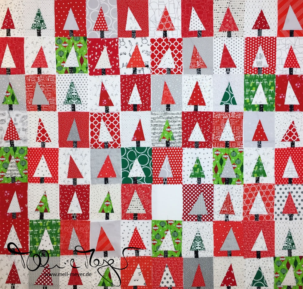 """Patchwork Forest"" Christmas Quilt Top 