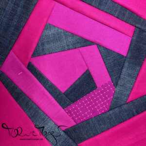 """Quilty Circle of Bees – July/August 2020 """"Wonky Jeans Flower"""""""